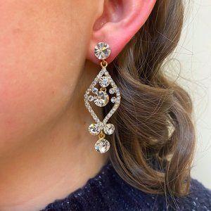Clear Crystal Rhinstone Gold Chandelier Earrings